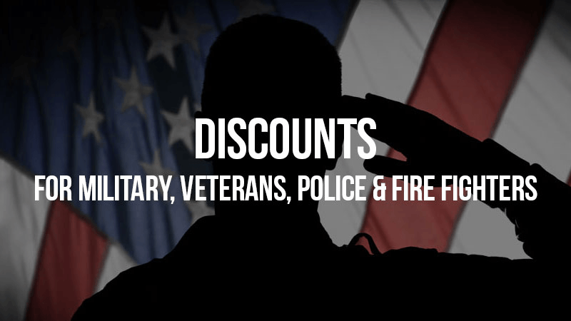 Discounts for military, veterans, police and fire fighters